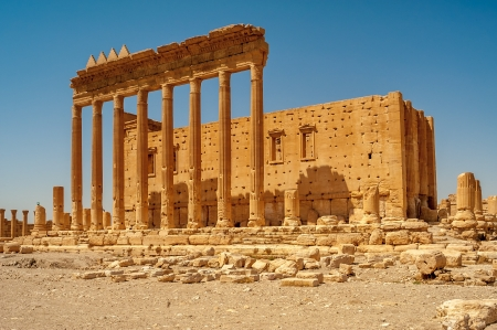 Ancient Palmyra Ruins - Temple of Bel Stock Photo