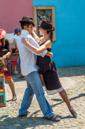 tango dance: Tango in The Streets of Buenos Aires - La Boca