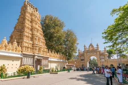 mysore: Gate and Temple in Mysore Palace Complex Editorial