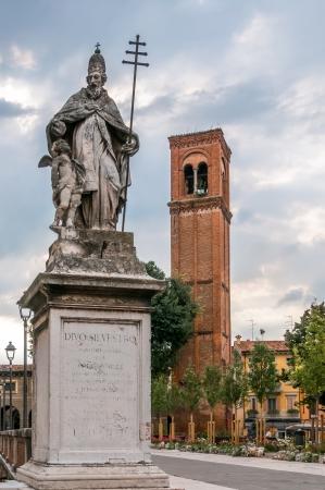 sylvester: Statue of Saint Sylvester in Mantua Stock Photo