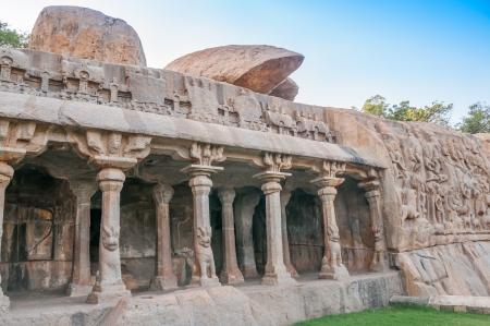 mamallapuram: Descent of the Ganges Temple - Mamallapuram Stock Photo