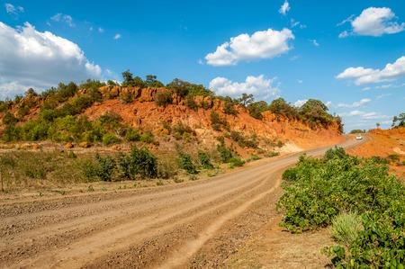 pista: Road to Gesergio sandstone rocks in Ethiopia Stock Photo