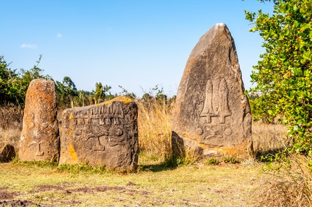 best known: Tiya is best known for its adjacent archeological site, which is distinguished by 36 standing stones or stelae  Stock Photo