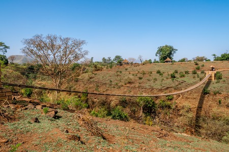Hanging bridge in Blue Nile Falls, Ethiopia   photo
