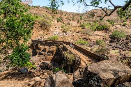 kilometres: BLUE NILE, ETHIOPIA - MARCH 22,2014 - Portuguese bridge near Tis Issat  Portuguese Bridge has a length of 0 01 kilometres