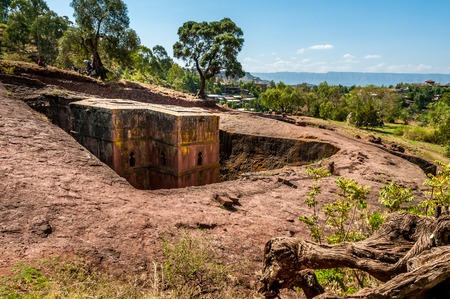 The Church of St  George  Bete Giyorgis in Lalibela   photo