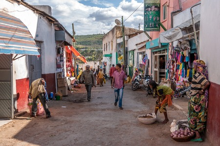 HARAR, ETHIOPIA - MARCH 27,2014 - Harar known to its inhabitants as Gey, is a walled city in eastern Ethiopia Founded in the 7th century by Arab immigrants, it was chosen as the capital of the Adal Sultanate from 1554 to 1557