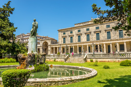 frederic: CORFU, GREECE - AUGUST 2,2014 - Lord Frederic Adams statue with Asian arts museum in Corfu town Museum is in palace of St  Michael and St  George  Editorial