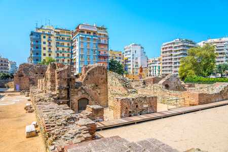 thessaloniki: Navarinou Square with the remains of the palace of Galerius in Thessaloniki Stock Photo