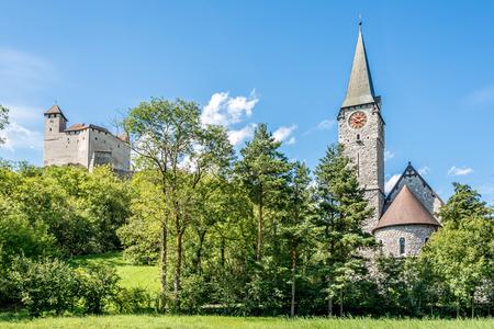 gutenberg: Gutenberg castle and church of St. Nicholas in Balzers - Liechtenstein