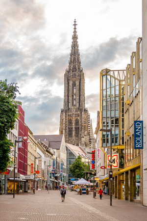 ULM, GERMANY - AUGUST 22,2014 - In the streets of Ulm. Ulm is a city in the federal German state of Baden-W?rttemberg, situated on the River Danube.