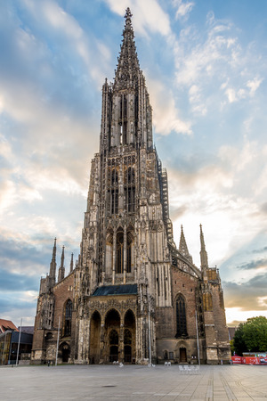 ULM, GERMANY - AUGUST 22,2014 - Ulm Minster. Ulm is a city in the federal German state of Baden-W?rttemberg, situated on the River Danube.