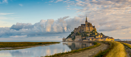 normandy: Panoramic view at morning Mont Saint-Michel - Normandy