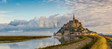 mont saint michel: Panoramic view at morning Mont Saint-Michel - Normandy
