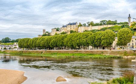 chinon: CHINON, FRANCE - AUGUST 25,2014 - Forteresse Royale de Chinon.It is well known for its wines as well as its castle and historic town.