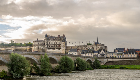 View of Amboise chateau with bridge - France photo