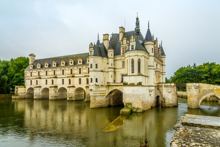 mentioned: CHENONCEAU, FRANCE - AUGUST 26,2014 - The chateau Chenonceau, on the river Cher.The estate of Chenonceau is first mentioned in writing in the 11th century.
