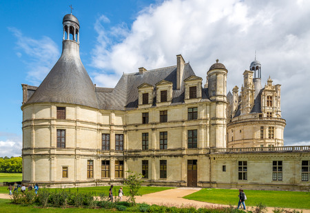 chambord: CHAMBORD, FRANCE - AUGUST 26,2014 - View at the Chateau de Chambord.Construction was completed in 1547.Chateau de Chambord is a popular tourist attraction.