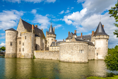sully: Moat with chateau of Sully sur Loire in France