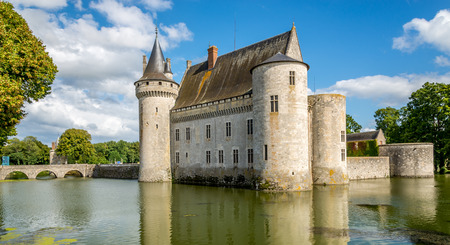 sully: Chateau of Sully sur Loire with bridge in France