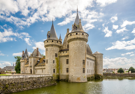 sully: SULLY SUR LOIRE, FRANCE - AUGUST 26,2014 - Chateau Sully sur Loire. It was built in 14th century at a strategic crossing of the Loire river.
