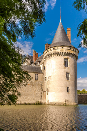 sully: SULLY SUR LOIRE, FRANCE - AUGUST 26,2014 - View at the chateau Sully sur Loire.The chateau of Sully sur Loire dates from the end of the 14th century and is a prime example of medieval fortress.