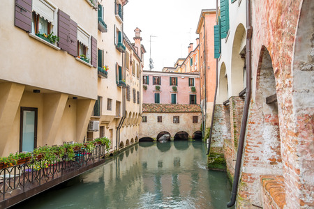 treviso: River canal with buildings in Treviso - Italy