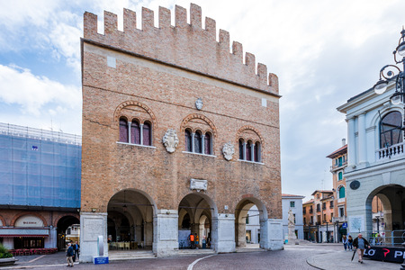treviso: TREVISO,ITALY - SEPTEMBER 13,2014 - Palace Trecento at place Signiori in Treviso. Treviso stands at the river Sile in region Veneto. Editorial
