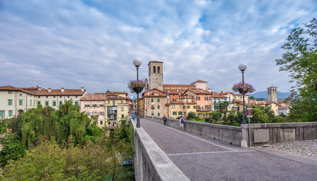 spanned: CIVIDALE DEL FRIULI,ITALY - SEPTEMBER 24,2014 - View at the Cividale del Friuli. The town is split in two by the Natisone River, which is spanned by the impressive Devils Bridge.