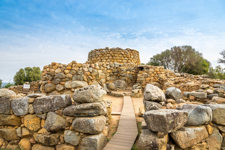 ARZACHENA,ITALY - SEPTEMBER 15,2014 - Nuraghe Prisgiona in nuragic archaeological site located in the Capichera valley near Arzachena.Was occupied from the 14th until the 9th century B.C.