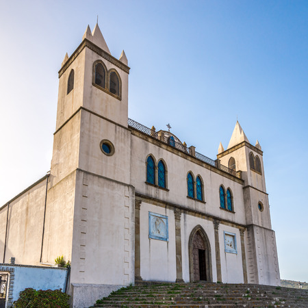 preceded: CUGLIERI,ITALY - SEPTEMBER 20,2014 - Basilica Santa Maria della Neve in Sardinian Cuglieri.The temple dominates the town from the top of the hill Bardosu, on which stands, preceded by a scenic square.
