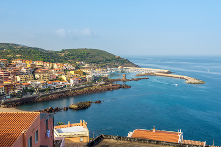 east end: CASTELSARDO,ITALY - SEPTEMBER 21,2014 - View at the Castelsardo port from castle.Castelsardo is located in the northwest of the island within the Province of Sassari, at the east end of the Gulf of Asinara.