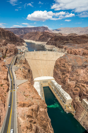 hoover: the Hoover Dam is an arch dam on the Colorado River in the United States Situated on the border of Arizona and Nevada. Stock Photo