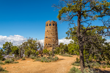 watchtower: Grand Canyon Watchtower at the Desert View Stock Photo