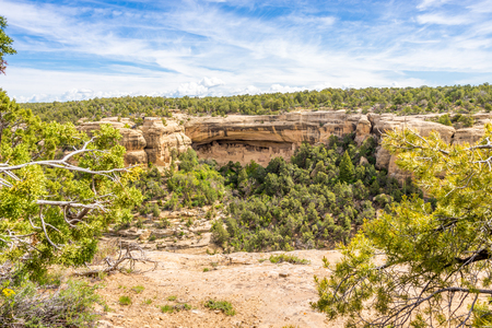 MESA VERDE, COLORADO - MAY 27.2015 - View from Sun Point at the Cliff Palace in Mesa Verde.Cliff Palace is located in the largest alcove in the center of the Great Mesa.