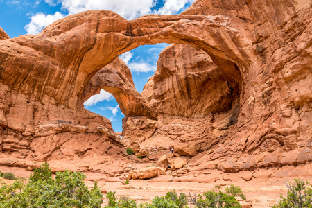 natural arch: ARCHES N.P.,UTAH - MAY 28,2015 - Double Arch is a close-set pair of natural arches, one of the more known features of Arches National Park in Utah. Editorial