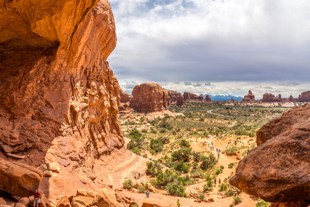 geologists: ARCHES N.P.,UTAH - MAY 28,2015 - Double Arch is a close-set pair of natural arches, one of the more known features of Arches National Park in Utah. Editorial
