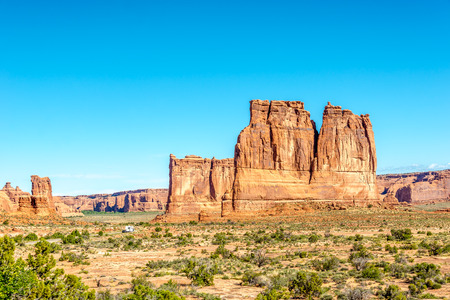 geologists: Organ - Sandstone Tower in Arches National Park Stock Photo