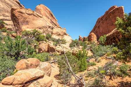geologists: Rock Formations near Landscape Arch - Arches N.P.