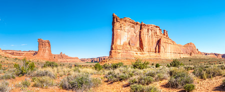 geologists: Panorama view at the Rock Formations Organ Stock Photo