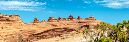 geologists: Panoramic view at the Rock Formations with Delicate Arch Stock Photo