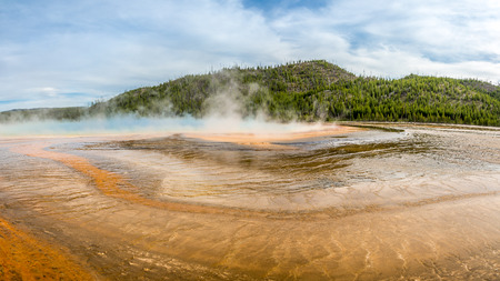 prismatic: View at the Grand Prismatic Spring in Yellowstone National Park