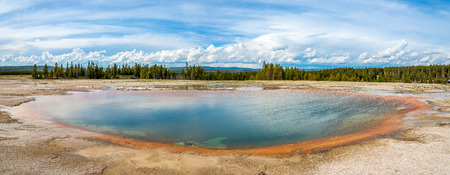 geologists: Panoramic view in Yellowstone National Park - Wyoming