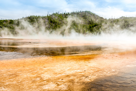 geologists: Grand Prismatic Spring in Yellowstone National Park Stock Photo
