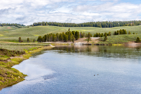 geologists: View at the nature in Yellowstone National Park Stock Photo