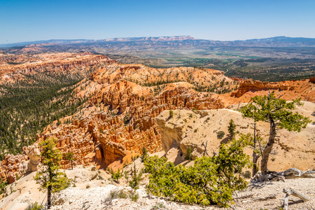 geologists: View from Bryce point at the nature of Bryce Canyon Stock Photo