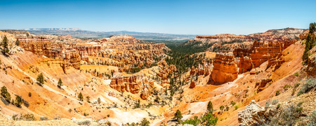 geologists: Panoramic view from Sunset point at the rock formation of Bryce Canyon