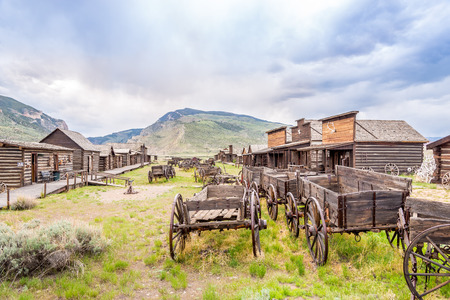 cody: CODY ,WYOMING - MAY 30,2015 - Cody is a city in Park County.Old Trail Town is a collection of historic western buildings. Editorial