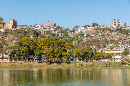 anosy: ANTANANARIVO,MADAGASCAR - AUGUST 08,2015 - View at the Antananarivo from lake Anosy. Antananarivo is the capital and largest city in Madagascar. Editorial