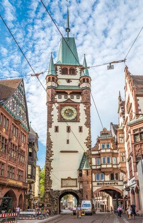 freiburg: FREIBURG IM BREISGAU, GERMANY - AUGUST 28,2015 - Martinstor,old gate to Freiburg city.Freiburg was founded in 1120 as a free market town. Editorial